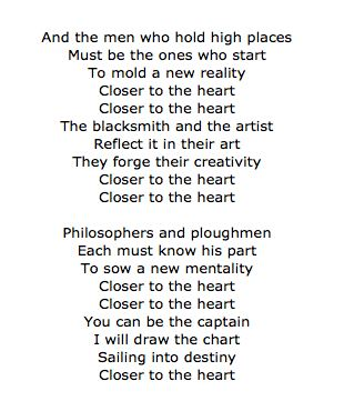 Closer To The Heart Lyrics