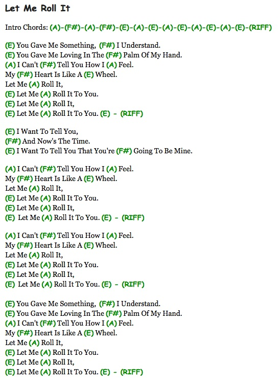 Let Me Roll It Lyrics for GFT