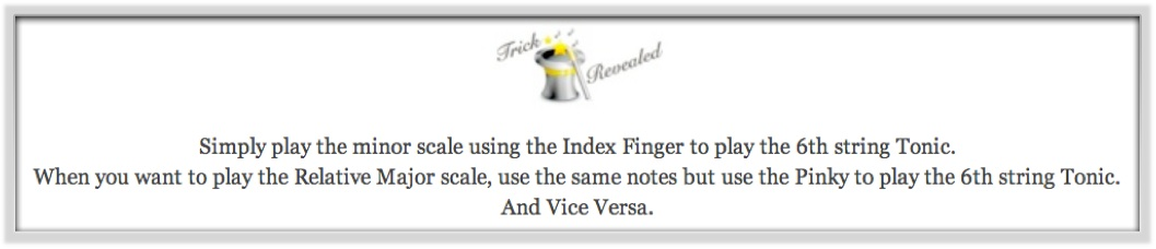 Trick revealed major and minor relative scales using index finger and pinky